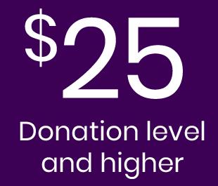 $25 Donation Level