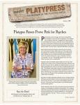 Platypress Newsletter: Summer 2015